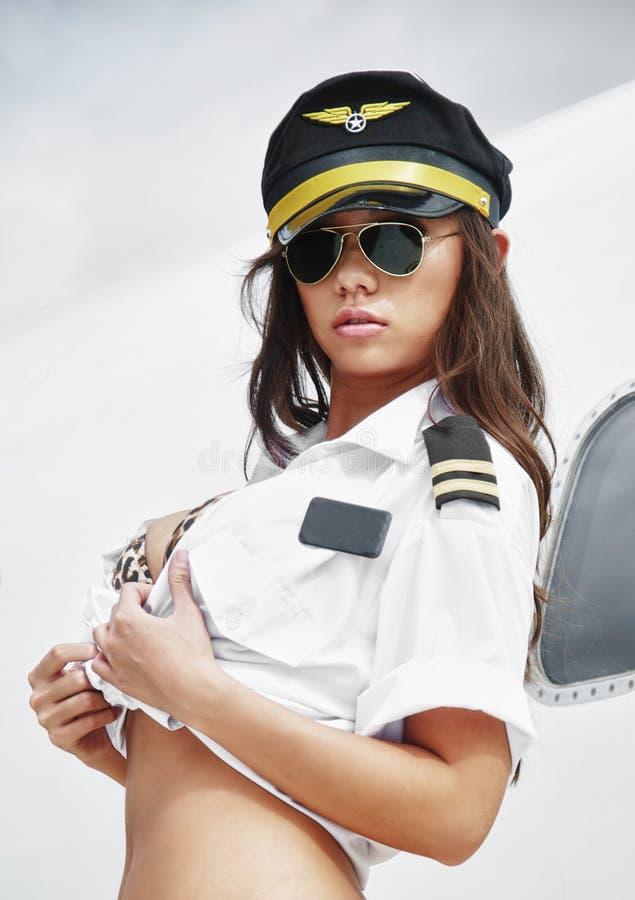 dziewczyna piękny pilot obraz stock