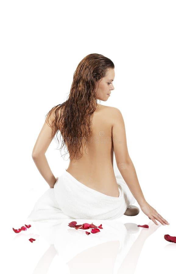 dziewczyna piękny ręcznik obrazy stock