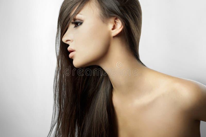 dziewczyna piękny włosy tęsk profil fotografia stock