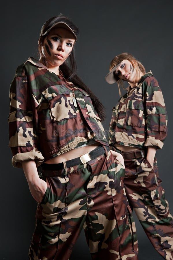 dziewczyna piękny wojskowy dwa fotografia stock