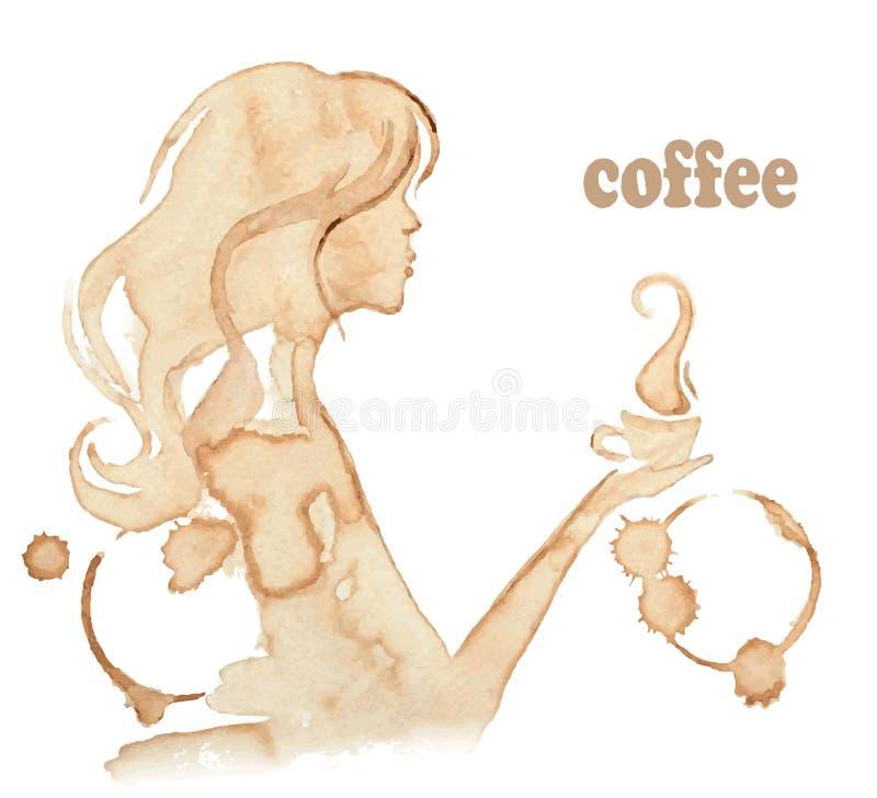 Dziewczyna pije kawę, rysuje z kawowymi plamami royalty ilustracja