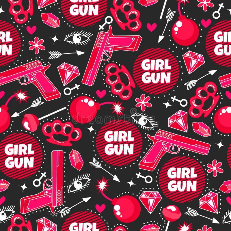 Dziewczyna pistolet Fasonuje bezszwowego wzór z pistoletem, lizakiem, diamentem, strzałą, oczami, bombą, brylantem, kwiatami, ser ilustracji