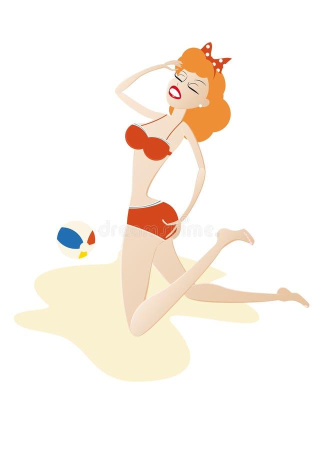 dziewczyna plażowa ilustracji