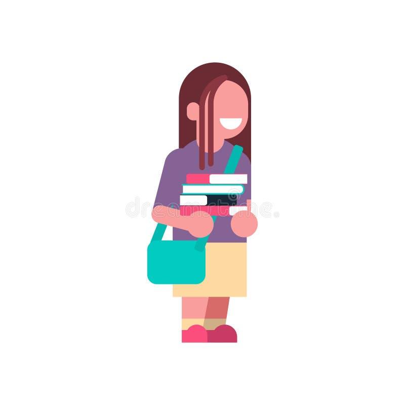 Dziewczyna plecaka książek sterty dziecko w wieku szkolnym odizolowywali małego początkowego ucznia nad białego tła płaską pełną  royalty ilustracja
