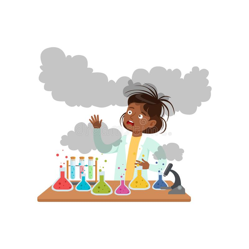 Dziewczyna po nieudanego chemicznego eksperymentu, uczennica naukowa doświadczalnictwo w nauki chemii laboratorium wektorze ilustracja wektor