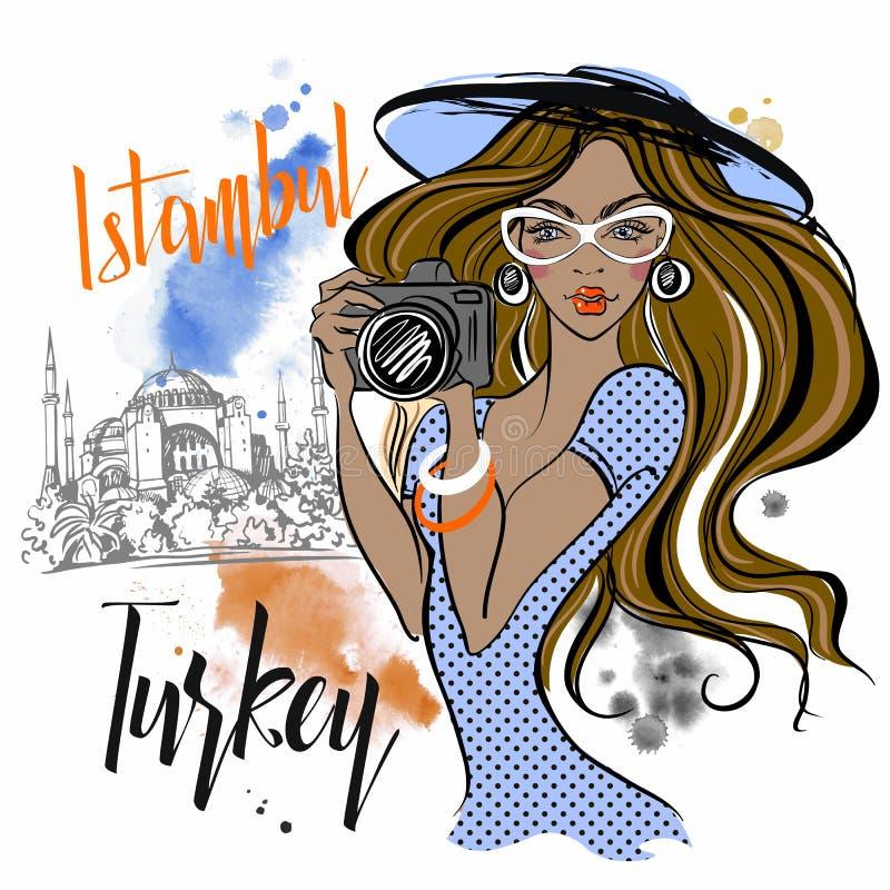 Dziewczyna podróżuje Turcja i fotografuje widoki Istanbu? Hagia Sophia wektor royalty ilustracja