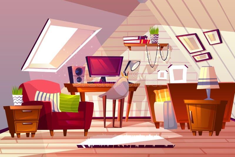 Dziewczyna pokój przy mansardy strychową wektorową ilustracją ilustracja wektor