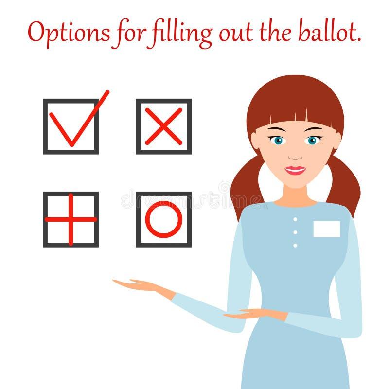 Dziewczyna pokazuje opcjom dla podsadzkowego out tajne głosowanie Wektorowy Illust ilustracji