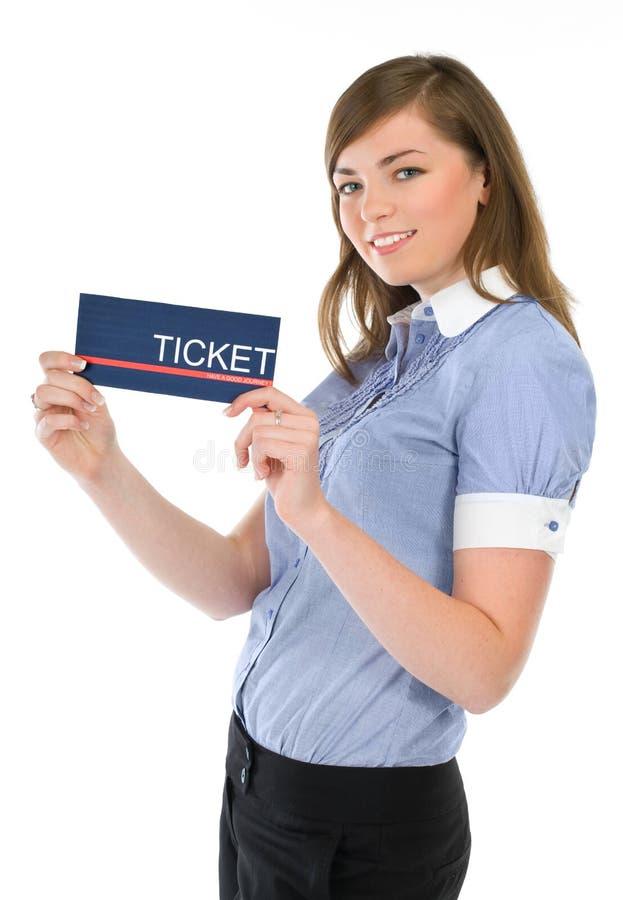 dziewczyna pokazywać stewardesa bilet fotografia royalty free