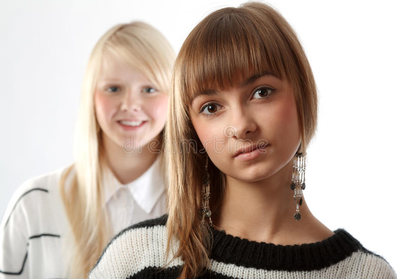 dziewczyna portret dwa obrazy royalty free