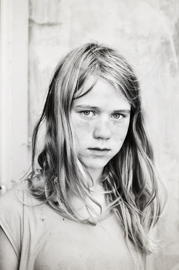 dziewczyna portret poważnie obraz stock