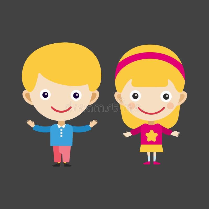 Dziewczyna portreta zabawy szczęśliwej chłopiec nastolatka postać z kreskówki małego dziecka wektoru młoda wyrażeniowa śliczna il royalty ilustracja