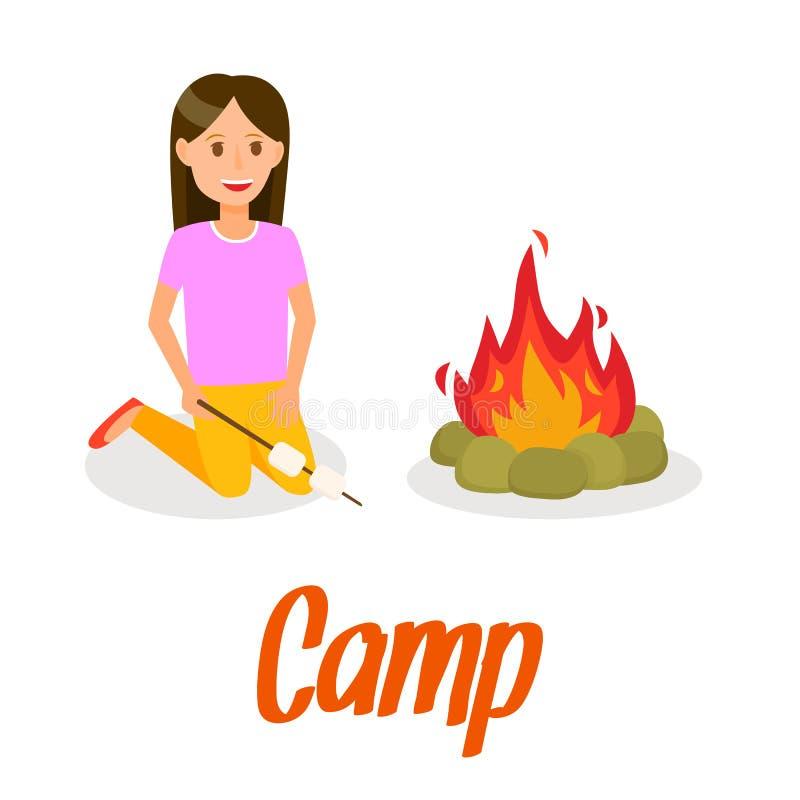 Dziewczyna prażaka Marshmallow na ognisko ilustracji royalty ilustracja