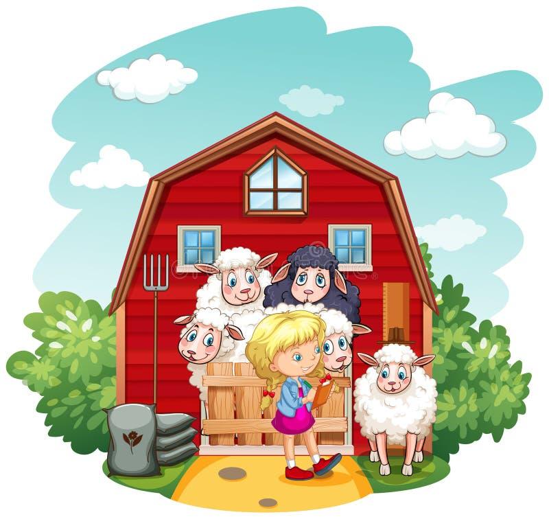 Dziewczyna pracuje w gospodarstwie rolnym royalty ilustracja