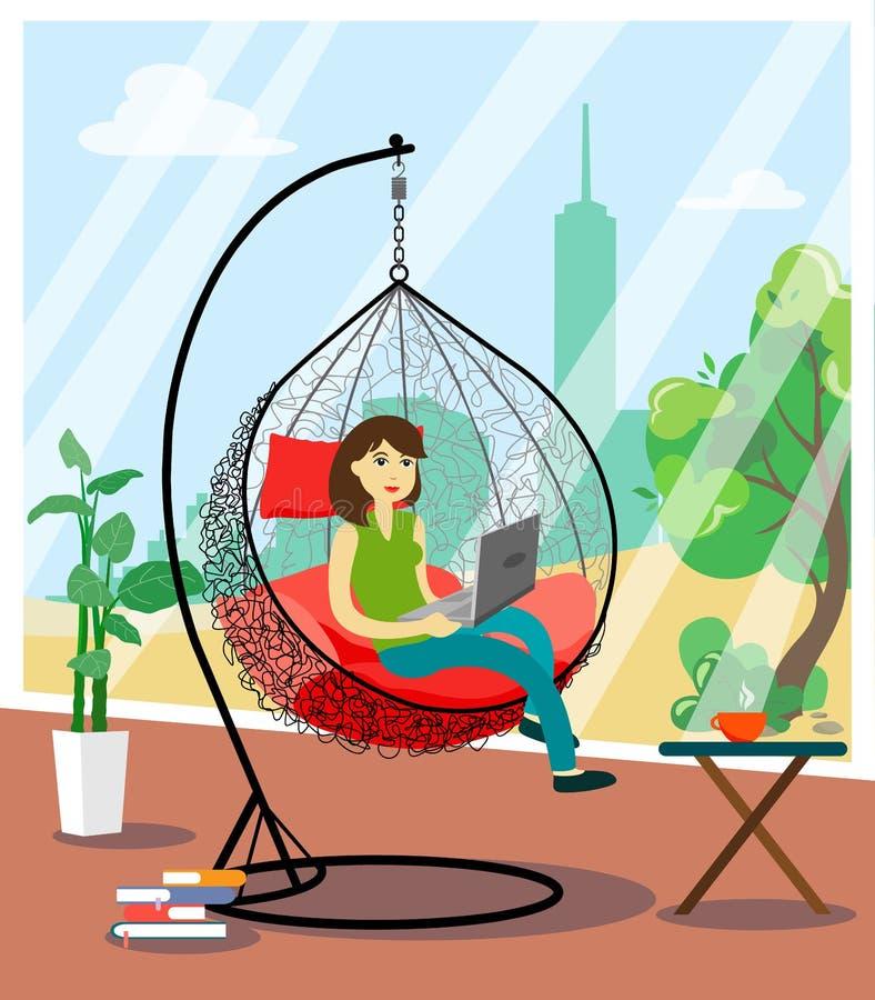 Dziewczyna pracuje za laptopem na wakacje w wiszącym krześle z widokiem miasta od wielkiego okno royalty ilustracja