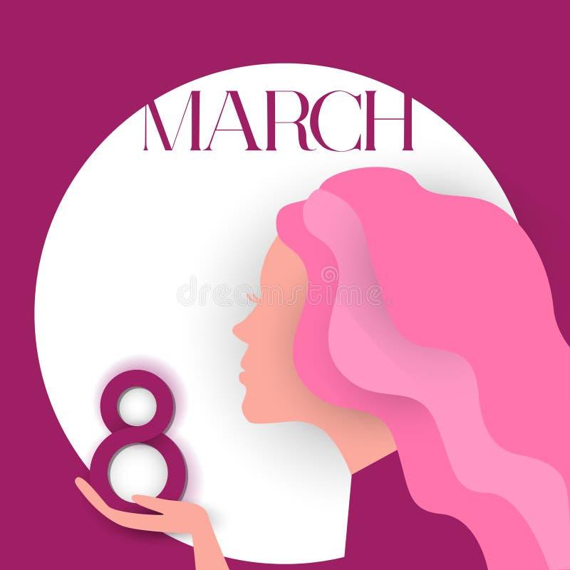 Dziewczyna profilu chwyta 8 kobiet dnia Marcowy Międzynarodowy kartka z pozdrowieniami royalty ilustracja
