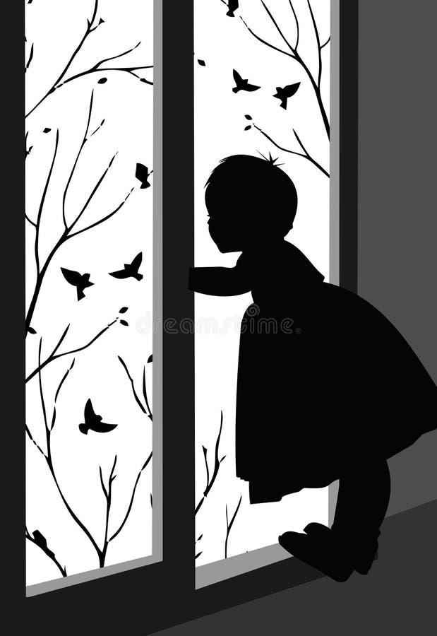 Dziewczyna przed oknem obserwująca ptaki - ilustracja wektora sylwetki ilustracja wektor
