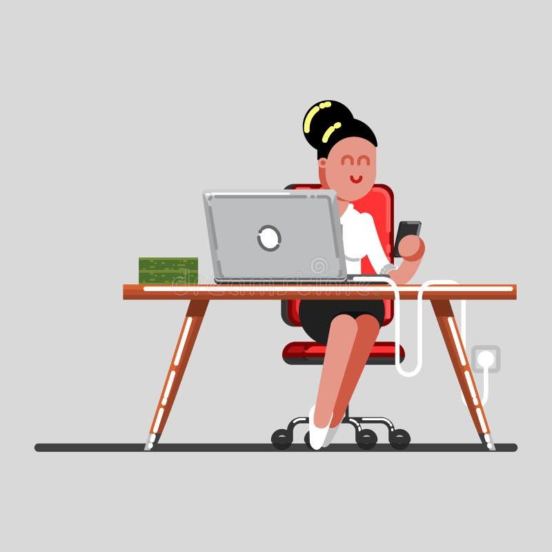 Dziewczyna przerwę na pracie ilustracja wektor
