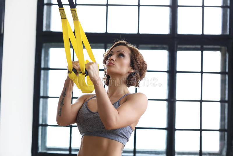 Dziewczyna przy gym fotografia stock