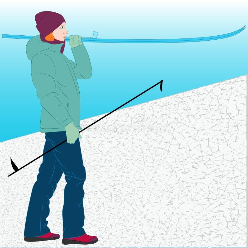 Dziewczyna przy ośrodka narciarskiego mienia nartami wektor ilustracji