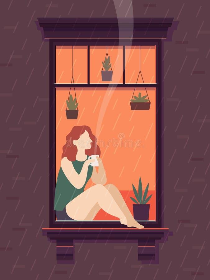 Dziewczyna przy okno z kawą Windows osoba cieszy się pijący kawowego herbacianej filiżanki osamotnionego czas, kreskówka wektoru  royalty ilustracja