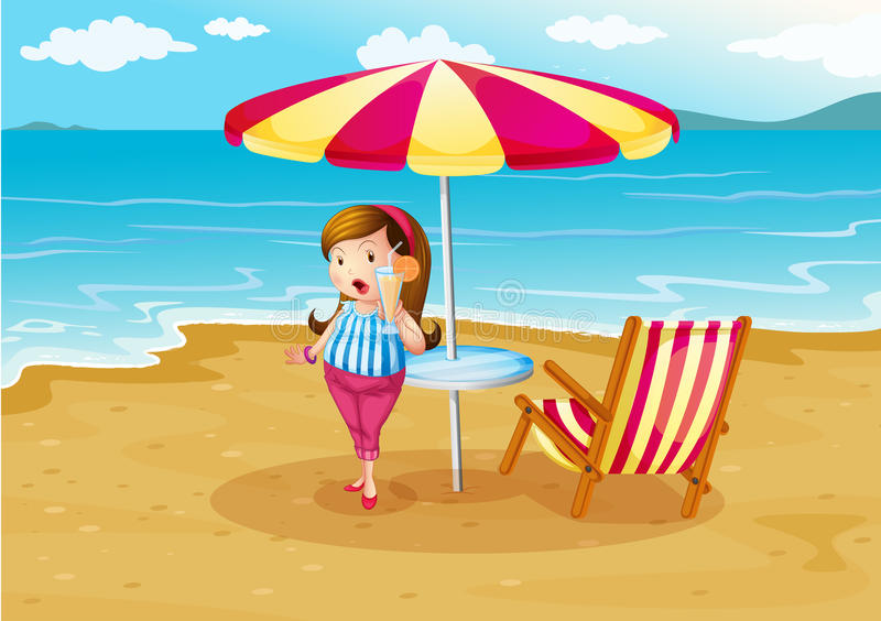 Dziewczyna przy plażą z sokiem pomarańczowym royalty ilustracja