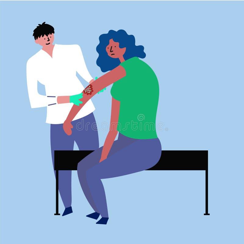 Dziewczyna przy przyjęciem przy lekarką Traktowanie egzema, łuszczyca ilustracja wektor