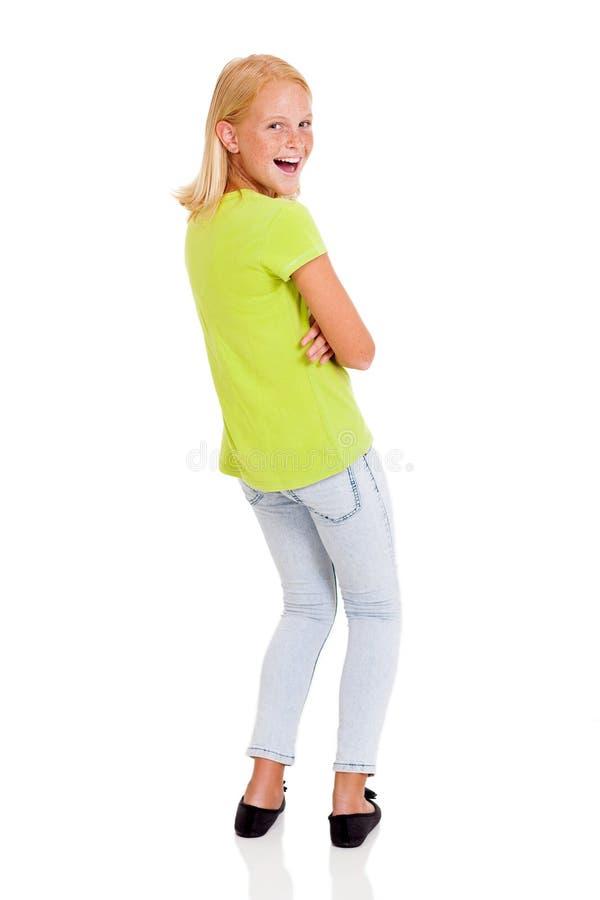 Dziewczyna przyglądająca z powrotem obraz stock