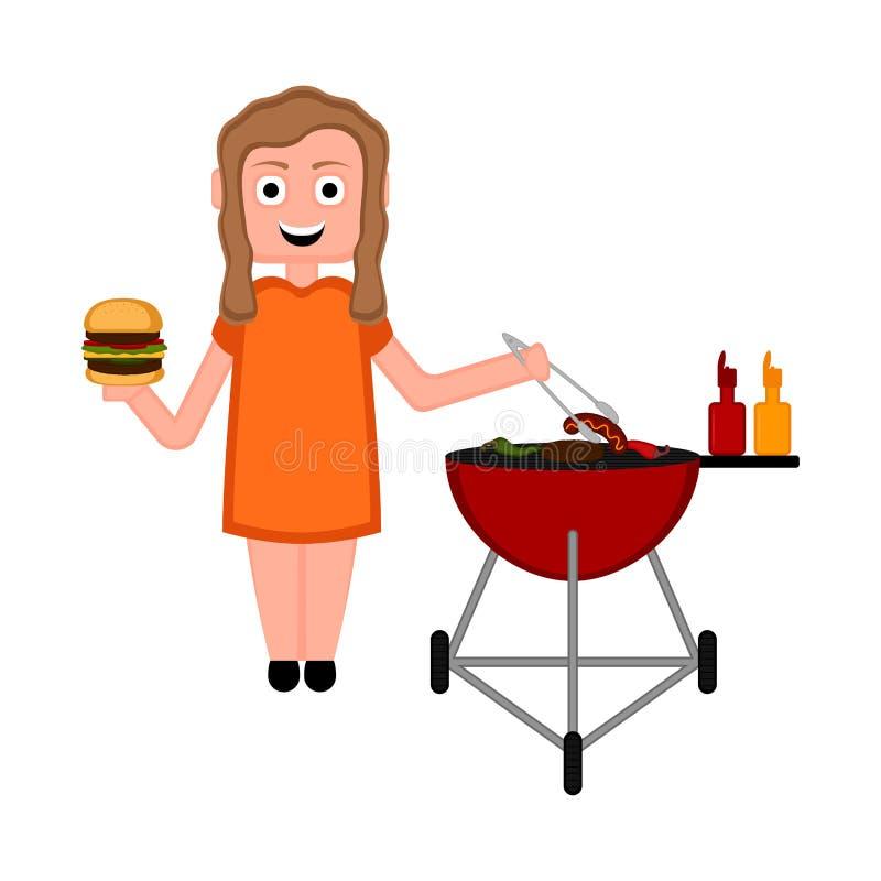 Dziewczyna przygotowywa kiełbasę na grilla grillu royalty ilustracja