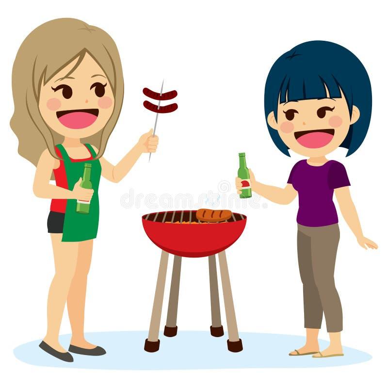 Dziewczyna przyjaciół grill ilustracji