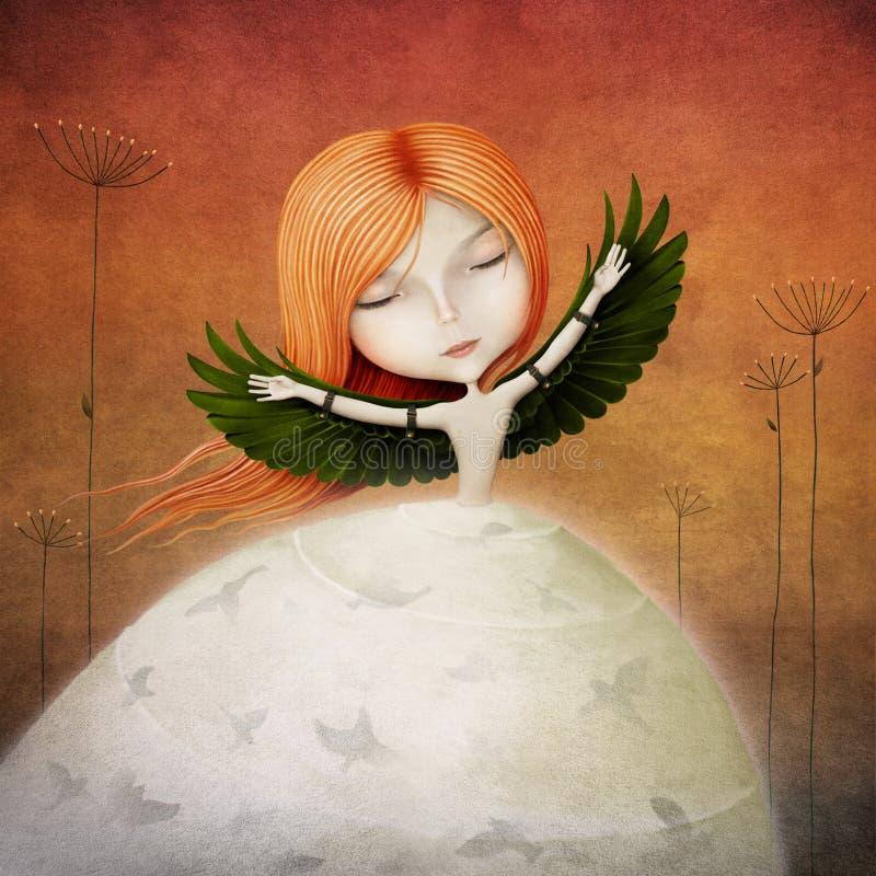Dziewczyna ptak ilustracja wektor