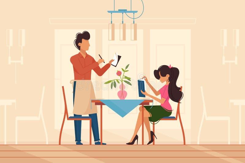Dziewczyna robi rozkazowi z kelnerem w restauraci ilustracji