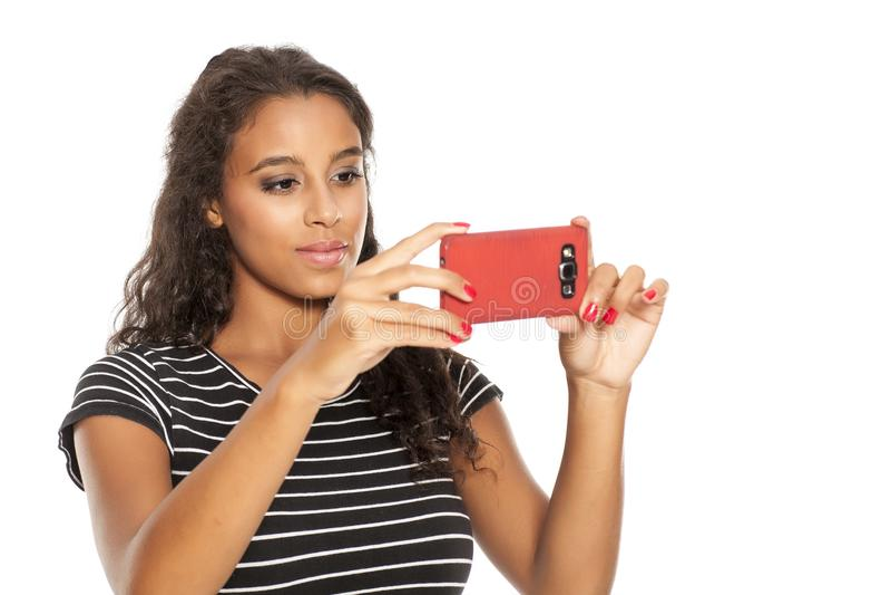 Dziewczyna robi selfie obraz stock