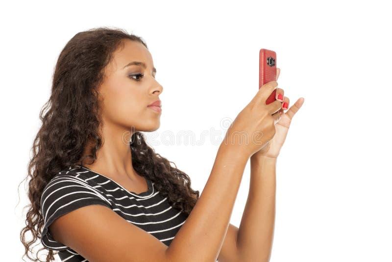 Dziewczyna robi selfie zdjęcia stock