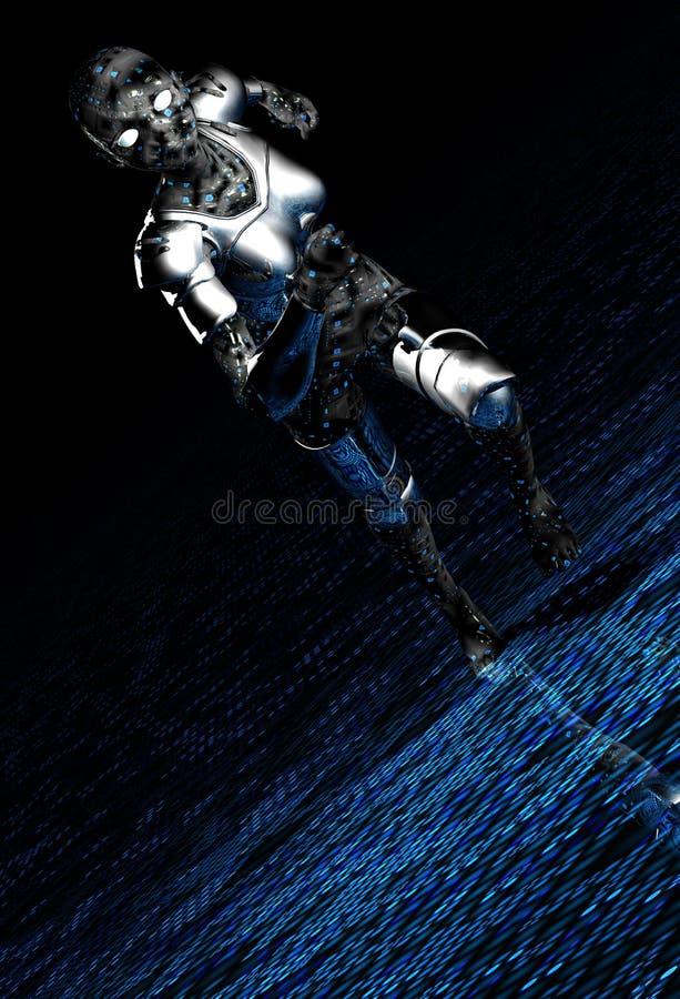 dziewczyna robot srebra ilustracji
