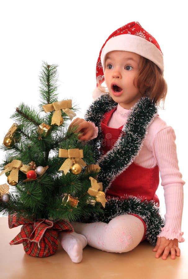 dziewczyna rok nowy drzewny fotografia royalty free