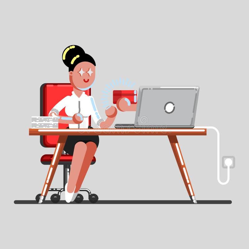 Dziewczyna rozkaz pakunek przez laptopu ilustracja wektor