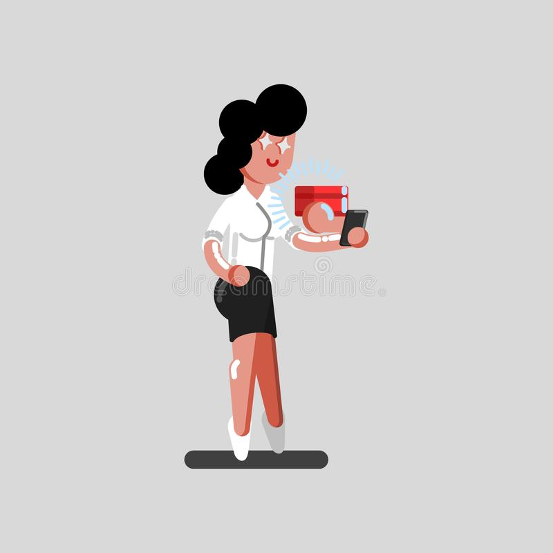 Dziewczyna rozkaz pakunek przez telefonu royalty ilustracja