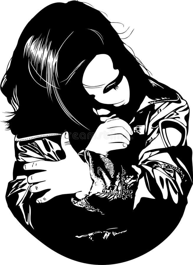dziewczyna rozpamiętywa ilustracja wektor