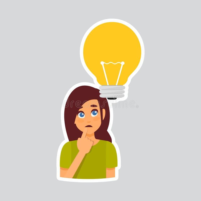Dziewczyna Rozpamiętywa majcheru Dla gona, etykietki ikony Kolorowy logo ilustracji