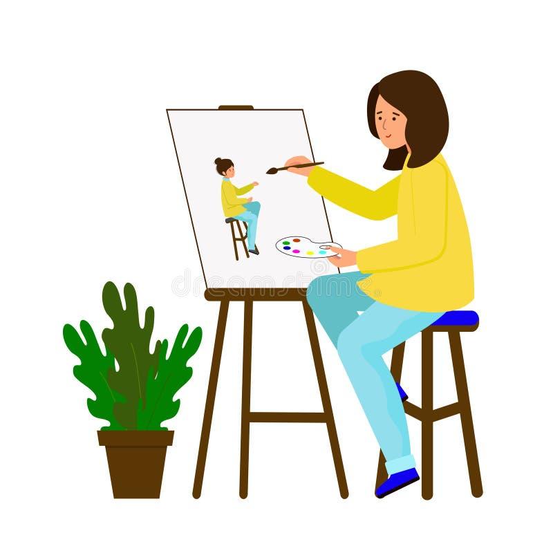 Dziewczyna rysuje obrazek Artysta tworzy autoportret Młodej kobiety obsiadanie przy remisami i sztalugą portret royalty ilustracja
