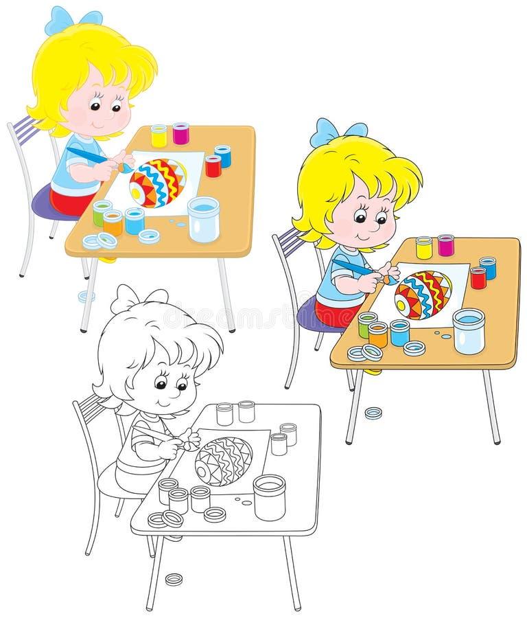 Dziewczyna rysuje Wielkanocnego jajko ilustracji