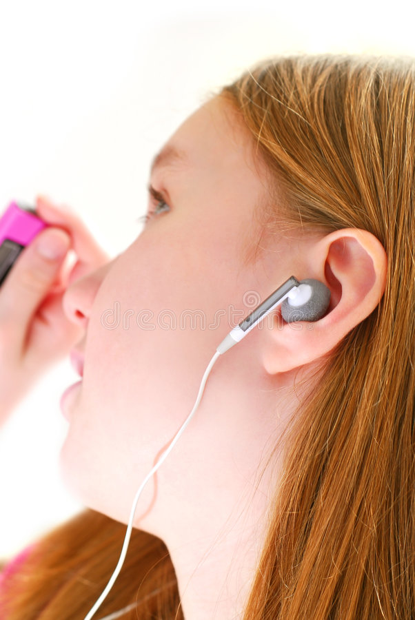dziewczyna słyszy muzykę obrazy royalty free