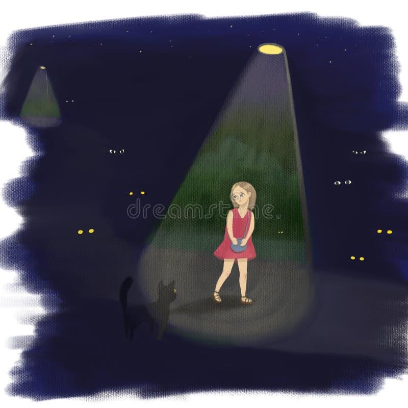 Dziewczyna samotnie w zmroku royalty ilustracja