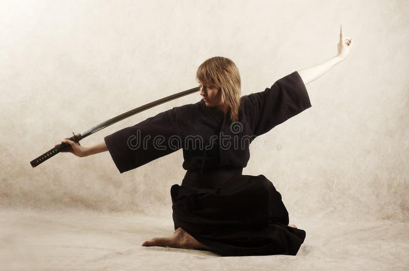 dziewczyna samurajowie obrazy royalty free