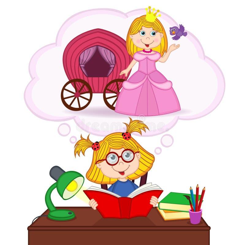 Dziewczyna sen zostać princess royalty ilustracja
