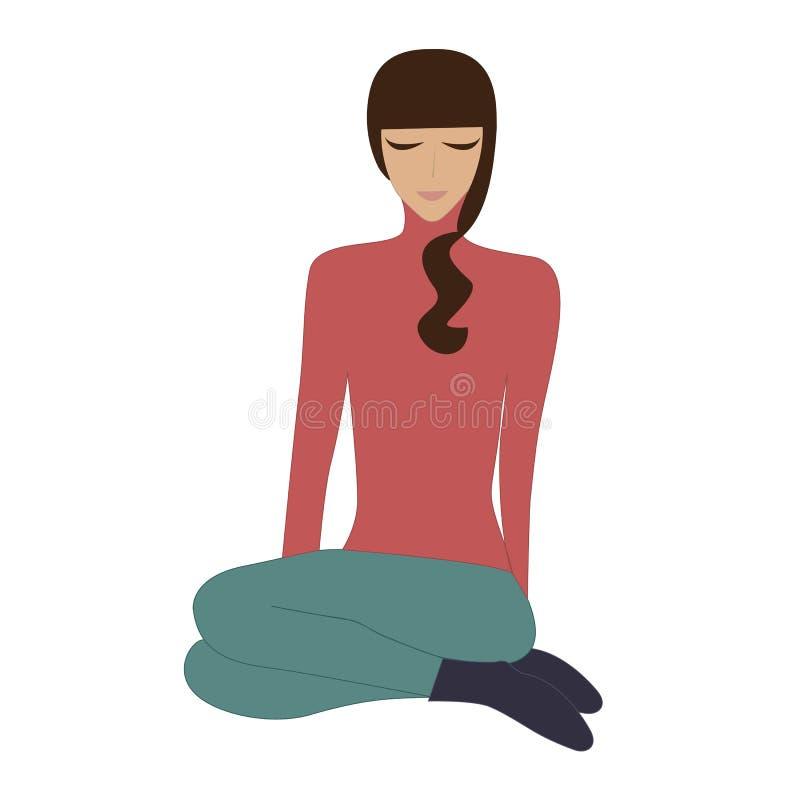 Dziewczyna siedzi crosslegged joga relaksu medytację odizolowywającą na białej tło sztuki kreatywnie wektorowej ilustraci royalty ilustracja