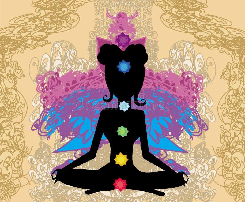 Dziewczyna siedzi i medytuje, abstrakt karta ilustracji