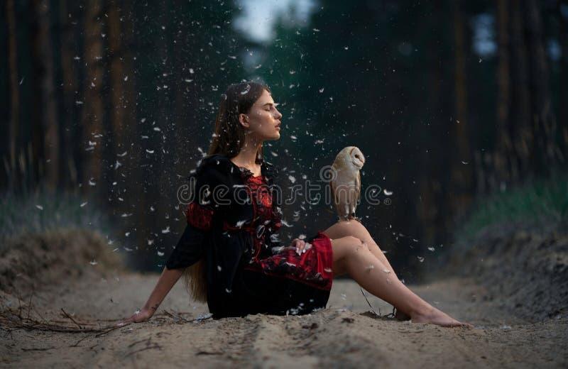 Dziewczyna siedzi na lasowej drodze z sową na jej kolanach wśród latającego fluf obraz stock