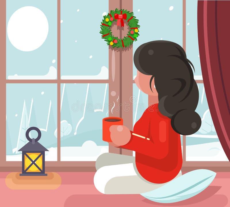 Dziewczyna siedzi nadokiennej śnieżnej zimy tła napoju gorącej herbacianej filiżanki projekta wektoru płaską ilustrację ilustracja wektor